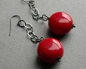 siren earrings - vintage lucite and gunmetal chain