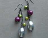 last one - dragonfly earrings - vintage beads and gunmetal chain