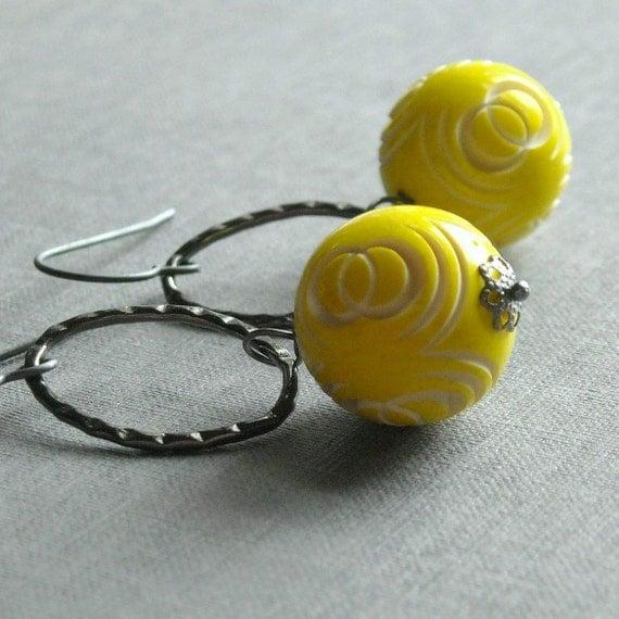 yellow slicker earrings - vintage lucite, gunmetal and sterling