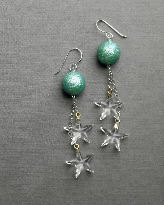 twinkle twinkle earrings - vintage lucite and sterling
