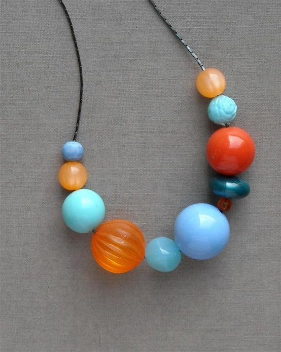 last one - liz necklace - vintage lucite and gunmetal