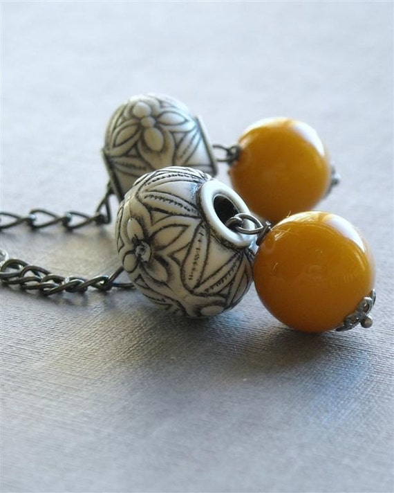 samovar - handmade earrings, vintage lucite
