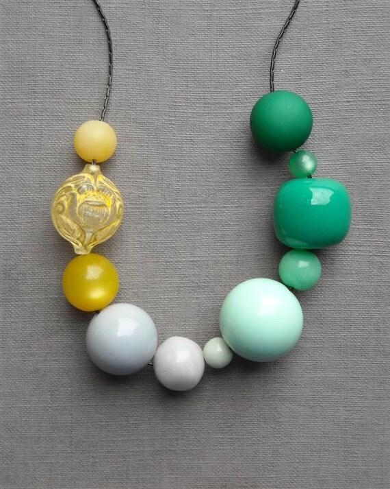 urban honey pioneers necklace - vintage lucite and gunmetal