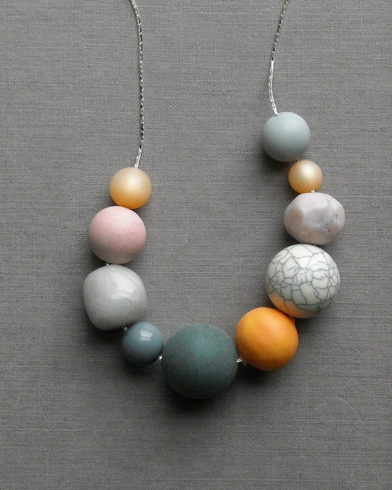 last one - egg carton necklace - vintage lucite, cotton bead and silverplated chain