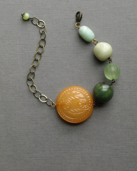 last one - orange grove bracelet - vintage lucite and brass