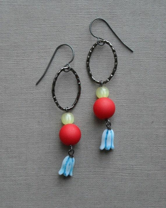 carnival earrings - vintage lucite, gunmetal and sterling