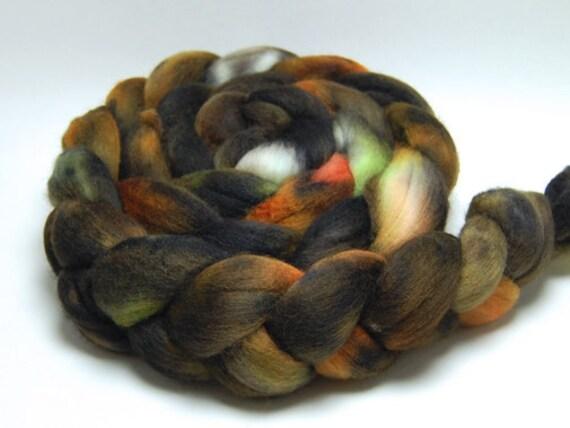 Mad as a Hatter - 4 oz Green Orange Black Brown Handpainted Merino Wool Roving Top