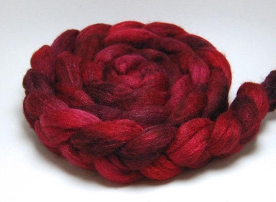 Crush Crush Crush - 4 oz Handpainted Red Burgundy Merino Silk Wool Roving Top
