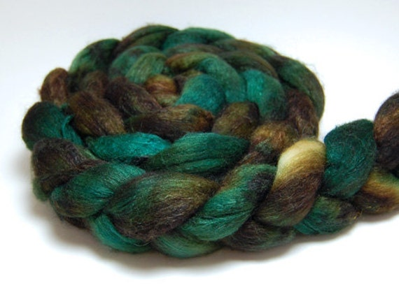 Aspen - 4 oz Handpainted Brown Gold Merino Silk Wool Roving Top