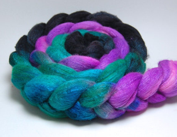 Quick Sizzle - 4 oz Teal Purple Black Handpainted Merino Silk Wool Roving Top