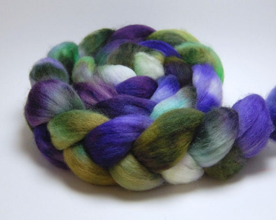 Vineyard - 4 oz Purple Green White Handpainted Falkland Wool Top Roving