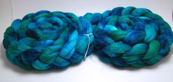 Reserved for MrsRocheleau2 - Mermaid - 2 x 4 oz Blue Green Handpainted Merino Silk Wool Roving Top