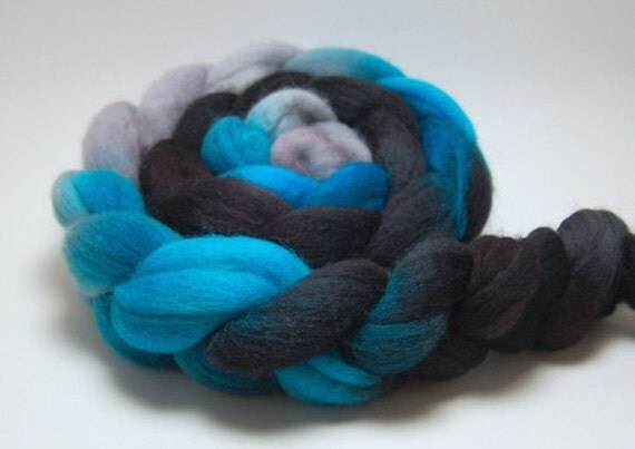 Stormfront- 4 oz Black Turquoise Silver Handpainted Falkland Wool Top Roving