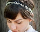 Ribbon Headband/ Charlotte Black and Silver Hand Beaded Headband