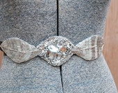 Wedding Belt/ Handmade Wedding/Evening Belt/Sash Hand Beaded Silver Leaf Waist Belt