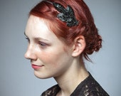 Black Headband/ Handmade Four Black Leaves Hand Beaded Headpiece/Headband