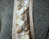 Handmade Hand Beaded Angelica Wedding Sash Champagne and Ivory/ READY TO SHIP