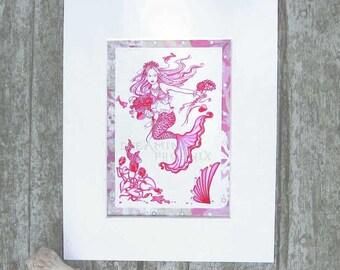Mermaid Princess Flower Girl Print Pink