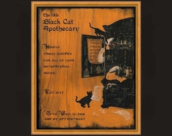 Cabinet of Curiosities Print Apothecary with Black Cats