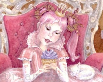 Princess of Cupcakes Art Print with cat and kitten peppermint pink
