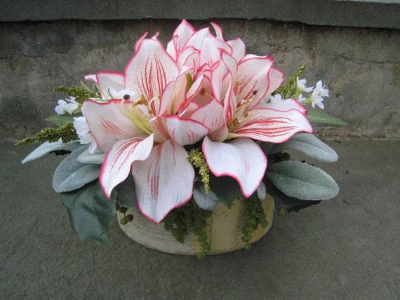 Silk Floral Arrangement Peppermint Carnival Amaryllis Flowers