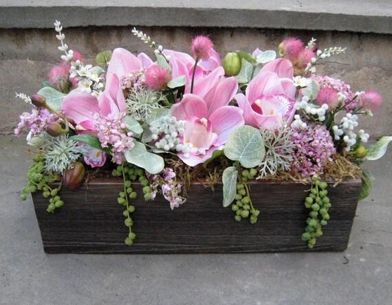 Pink Orchid Silk Floral Arrangement