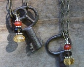 Antique Skeleton Key Necklaces with Gemstone Drops - 2 available