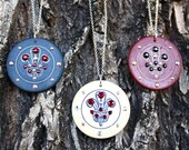 Sale, 15% Off - Vintage Poker Chip Necklaces - Crown Price of Wales Design, Red and Cream, FREE US Shipping