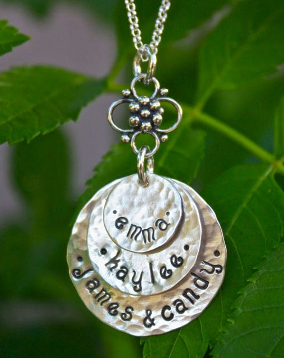 3 Disc Hand Stamped Mom Necklace, Personalized Mom Jewelry, Family Jewelry, Grandma Jewelry / BEST SELLER Mom Christmas Gift