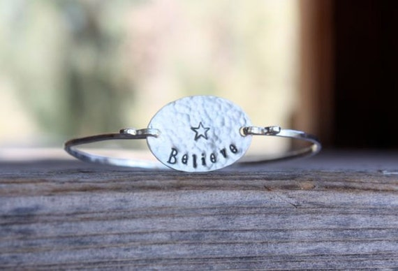 Believe Bracelet Bangle Style- Inspirational Jewelry, Motivational Jewelry, Sterling Silver Bangle, Believe Bracelet