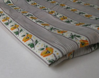 VINTAGE FLORAL POLYESTER in a gray and yellow stripe, measuring 45 inches wide by 2.75 yards