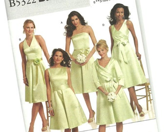 BUTTERICK PATTERN B5322 bridesmaid dresses, wedding dresses, prom dresses, formals, sizes 8, 10, 12, and 14, new and uncut