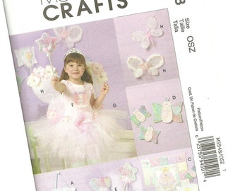 MCCALLS PATTERN M5948 princess fairy decor with tutu, fairy wings and wand, young girls sizes, new and uncut