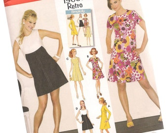 SIMPLICITY PATTERN 3833 sizes 14, 16, 18, 20, 22, retro remake, 1960s dresses, four styles, new and uncut