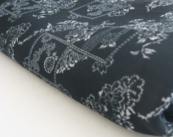 black floral print, VINTAGE POLYESTER remnant, MEASURES 55 inches by 2.5 yards