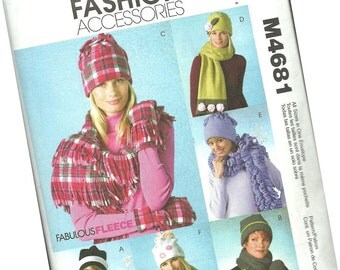 MCCALLS fashion accessories PATTERN M4681, ladies fleece hats and gloves and scarves, all sizes