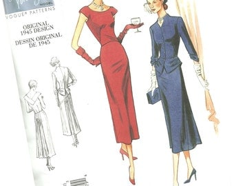 VOGUE SEWING PATTERN v1136, original 1945 design, ladie's classic dress and blazer, sizes 14, 16, 18, and 20, new and uncut
