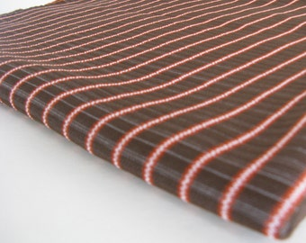 brown and orange stripe VINTAGE POLYESTER, measures 60 inches by 3/4 yard