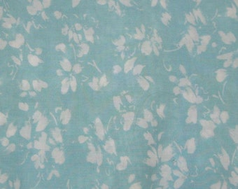 FABRIC  turquoise and white floral fabric MEASURES 45 INCHES 1.75 YARDS