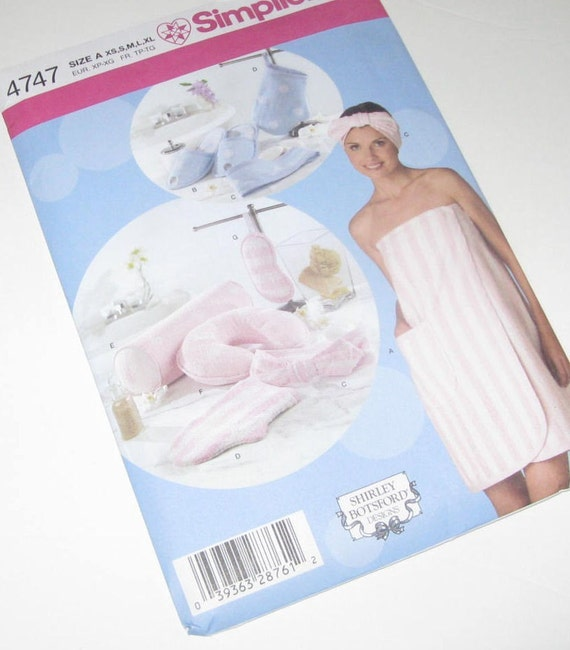 Spa Cold Towels: SIMPLICITY PATTERN 4747 Bath Wrap Pattern SPA ITEMS Slippers