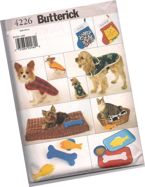 butterick pattern 4226 DOG JACKET, pet bed, dog toys, and stockings, for small, medium, and large dogs, new and uncut