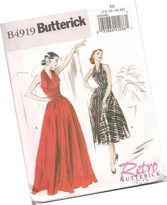 BUTTERICK PATTERN B4919 retro butterick 1952 ladies evening dress and sundress, sizes 14, 16, 18, and 20