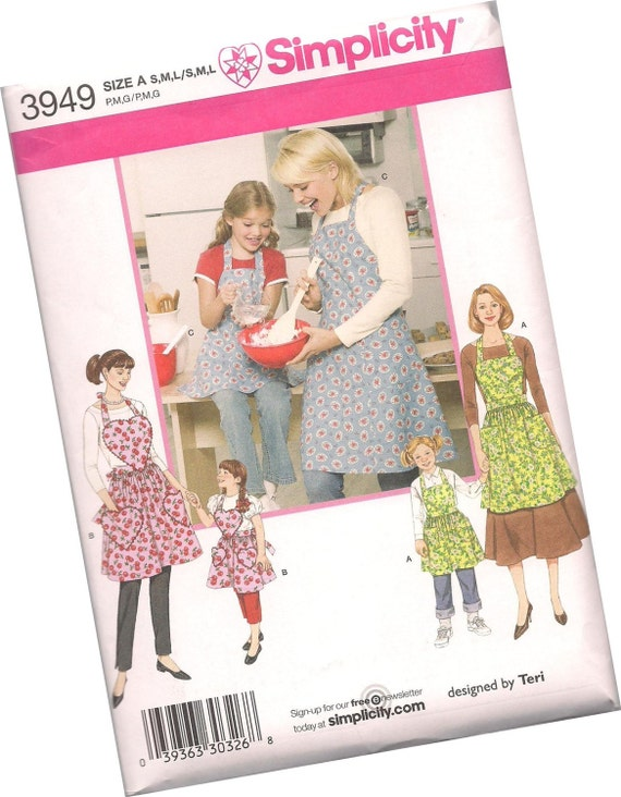 PATTERN SIMPLICITY 3949 apron patterns for ladies and girls, new and uncut