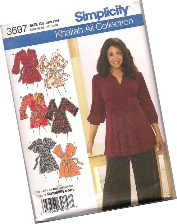 SIMPLICITY PATTERN 3697 sizes 26w, 28w, 30w, and 32w Khaliah Ali Collection, ladies blouses, six styles, new and uncut