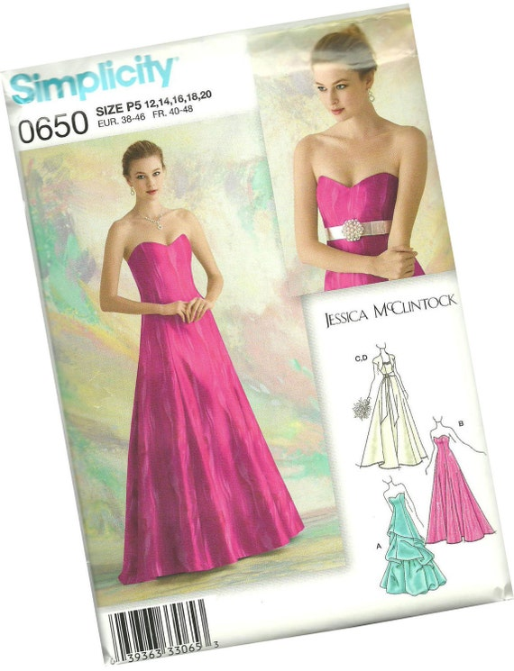 SIMPLICITY PATTERN 0650 by jessica mcclintock, ladies prom, bridal, formal dress pattern, sizes 12, 14, 16, 18, and 20