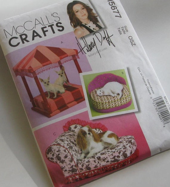 PATTERN MCCALLS M5677 crafts pattern by HILLARY DUFF dog bed patterns CAT BED PATTERNS three styles NEW AND UNCUT