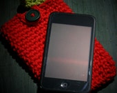 Cell phone case or cover Apple iPod, iPhone, iTouch cotton crochet cozy in bright red with a green leaf accent