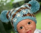 Baby boy booties hat set crochet camo blue, brown newborn 0-3 months Custom available
