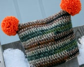 Ready to ship Toddler Boy hat hunter jester pom crocheted in green brown and gray camo with orange poms 6-12 months: