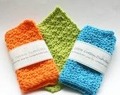 3 dishcloths crocheted in tangerine orange - teal blue - lime green 100 percent cotton yarn eco friendly